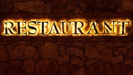"""backlit Houston channel letter signs saying """"restaurant"""""""