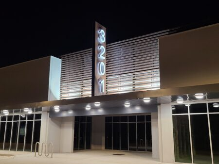 3201 Houston Channel Letter Signs lit up at night